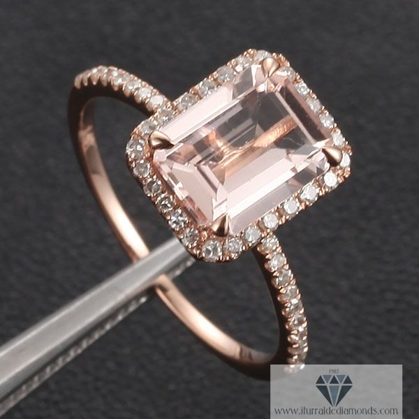 emerald cut morganite | Emerald Cut Morganite Engagement Ring Rose Gold Diamond Pave ...