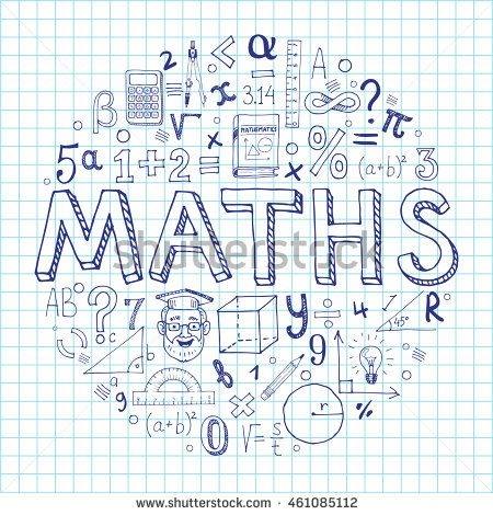 Creative hand drawn vector maths background with doodle icons arranged in a circle. Vector illustration isolated on background.