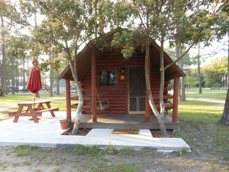 Camping cabin at the Jacksonville North/St. Marys KOA. Photo from Facebook.