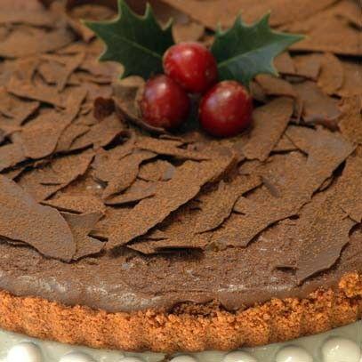 Chocolate amarula tart with chocolate shards