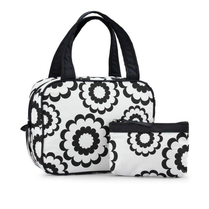 Necessär & sminkväska blommig svart vit Karen 5280-46-09