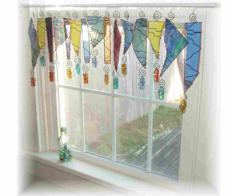 diamond anniversary rings Softer Serendipity Stained Glass Window Treatment Window Valance   120 00  via