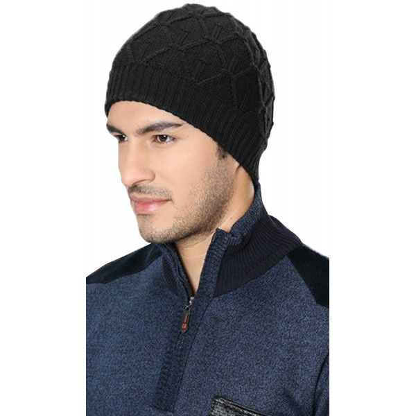 Men s Sport Knit Game Double Sides Can Wear Beanie Hat - Black 1 ... a9d9c2819