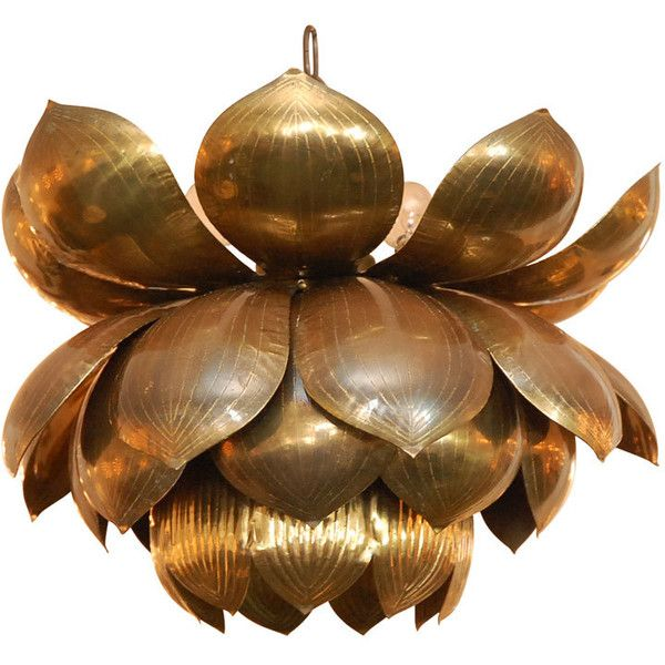 1st Dibs Brass Lotus Flower Chandelier ❤ liked on Polyvore featuring home, lighting, ceiling lights, brass pendant light, brass ceiling lights, polished brass lamps, solid brass chandelier and brass hanging lights