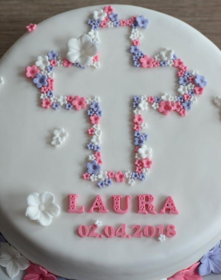Tauftorte Mädchen, Blumen, Christening Girls cake, Flowers, Motivtorte – .fondant cake.