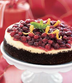 Cranberry-Orange Cheesecake with Chocolate Crust recipe