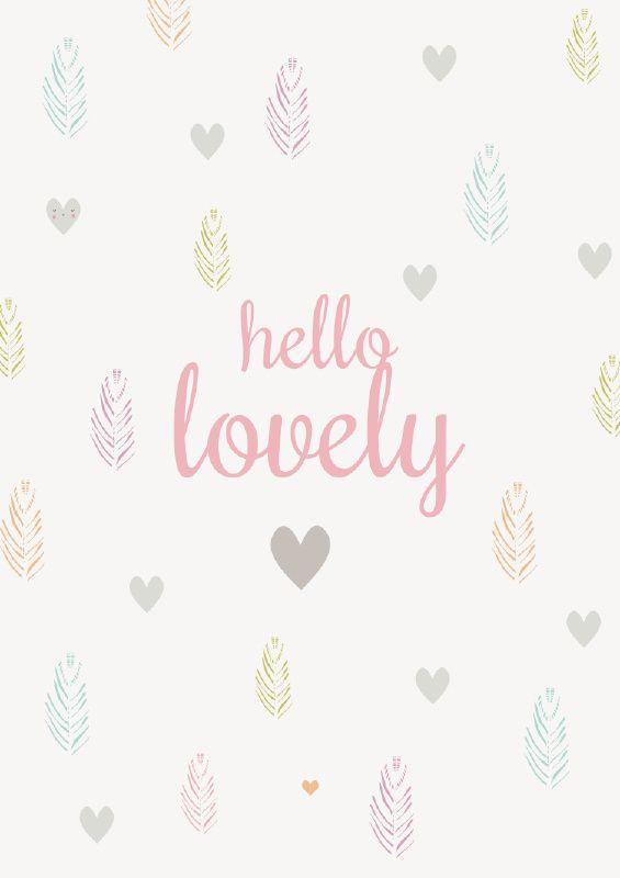 Ansichtkaart veertjes Hello lovely. Kaart in pastel tinten met hartjes, veertjes en tekst, hello lovely. decoratie kinderkamer babykamer
