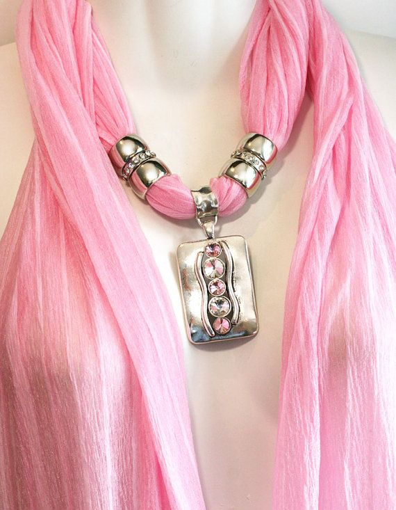 Scarf With Jewelry Pendant  Pastel Pink by RavensNestScarfJewel, $25.00