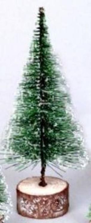"11"""" Green Frosted Artificial Village Christmas Tree - Unlit"