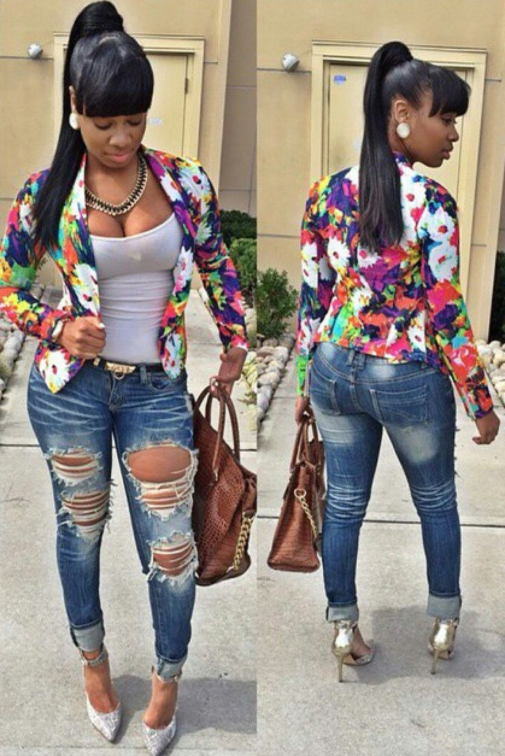 Blazer Ripped Jeans Black Girls Killing It Pinterest