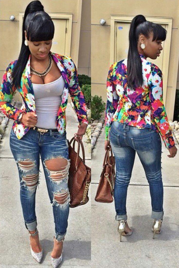 Blazer Ripped Jeans Black Girls Killing It Pinterest