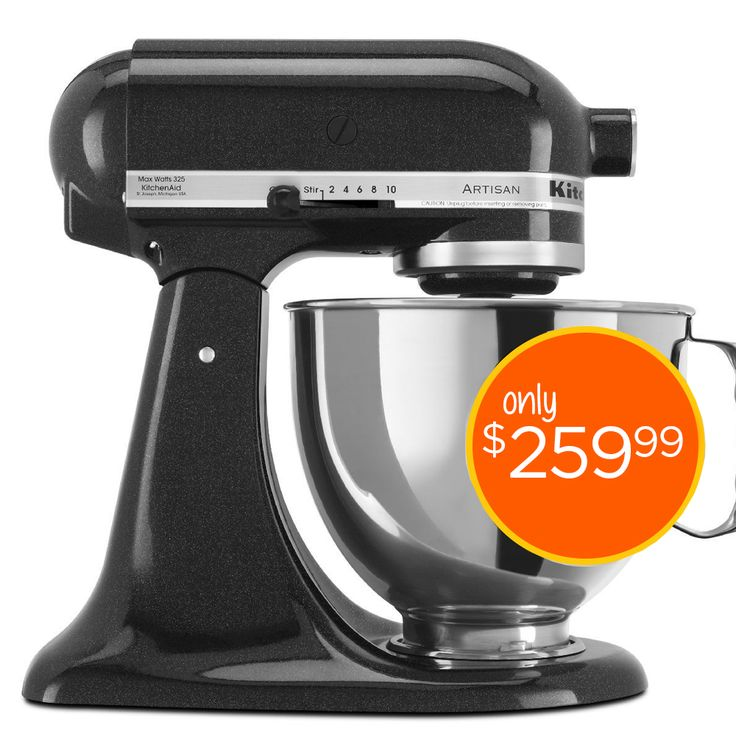This KitchenAid Artisan Mixer is in the ever popular color, Caviar, that will look great on any counter top.  The KitchenAid Artisan Mixer has a 325W motor, 5qt bowl, two-piece pouring shield and a tilt-back mixer head $259.99