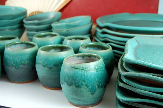 Eclectic Dinnerware Set of 6 Place Settings in Turquoise - Made to Order