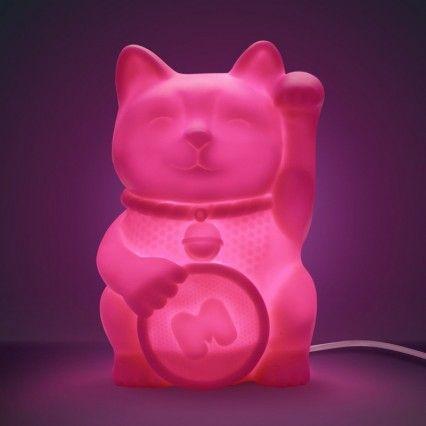 Lucky Cat Light - Maneki Neko pink desk lamp - Mustard