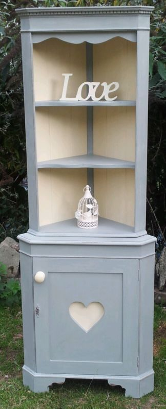 Shabby Chic French Style Corner Display Unit & Cupboard Cabinet In Annie Sloan