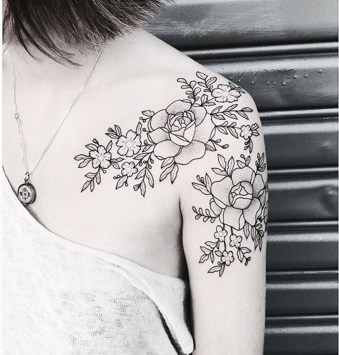 Gorgeous black and white floral tattoo design idea inspiration shoulder placement | Pinterest: •Linell•