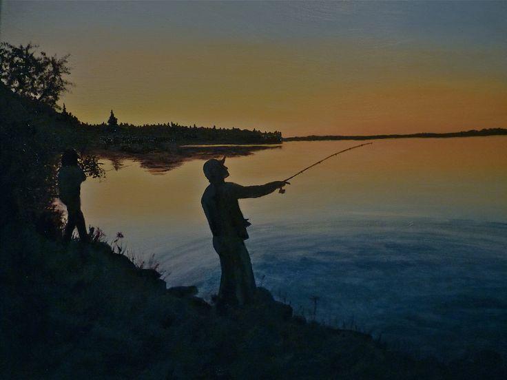 Fishing til Dusk, original oil on canvas by Karen Tomlinson 18x24