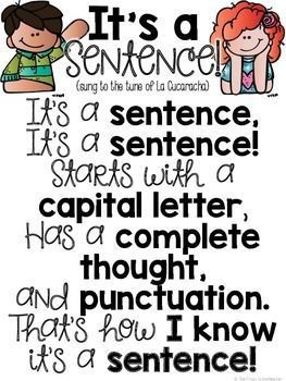 Do your Kindergarten and 1st grade students need a reminder of what a sentence is? Then use this FREE song download to help them! Then hang the poster in your room for them to reference and sing to themselves regularly. This cute, catchy song is sure to be a hit with your K and first grader! {freebie}