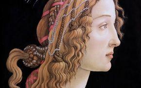 Обои картина, Франкфурт-на-Майне, Сандро Боттичелли, великий итальянский живописец, Sandro Botticelli, темпера, Симонетта Веспуччи, Портрет молодой женщины, ...