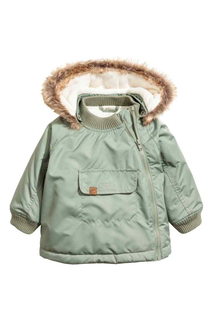 Утепленная куртка - Зеленый хаки - | H&M RU