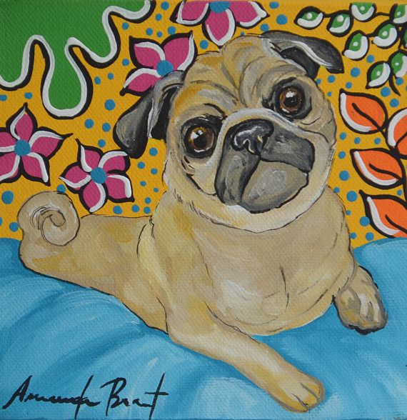 Pug Portrait Colorful Pop ART Pug Art Pug laying down Acrylics