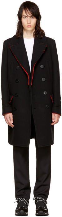 Givenchy Black Long Wool Peacoat