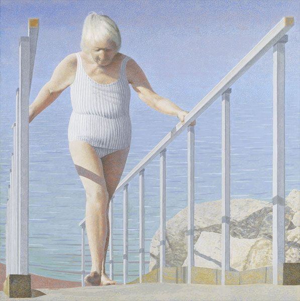 Woman on Ramp 2007 Alex Colville  Acrylic polymer emulsion on hardboard  53.4 x 53.4 cm  A.C.Fine Art, on loan to the Art Gallery of Ontario