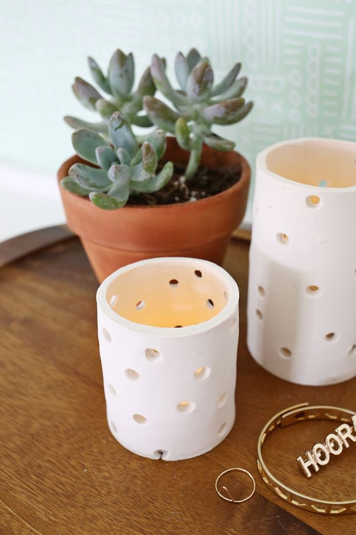 Need to try this! Easy Clay Votive DIY (click through for tutorial)