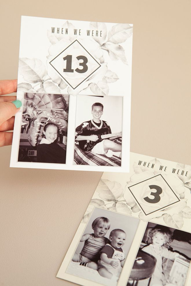 Check out these darling DIY table numbers with photos of the bride and groom at each table number age! #craftywithcanon