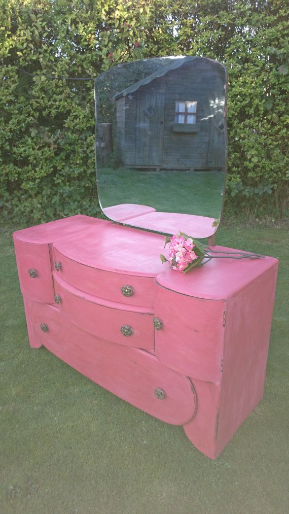 Vintage art deco shabby chic dressing table by ShellesChic on Etsy