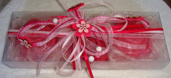A Pink Handmade Gift Set for summer very nice decorated with 3 small Dark Pink-Raspberry Scented Luxury Soaps. The perfect gift for Graduation but also for any occasion!