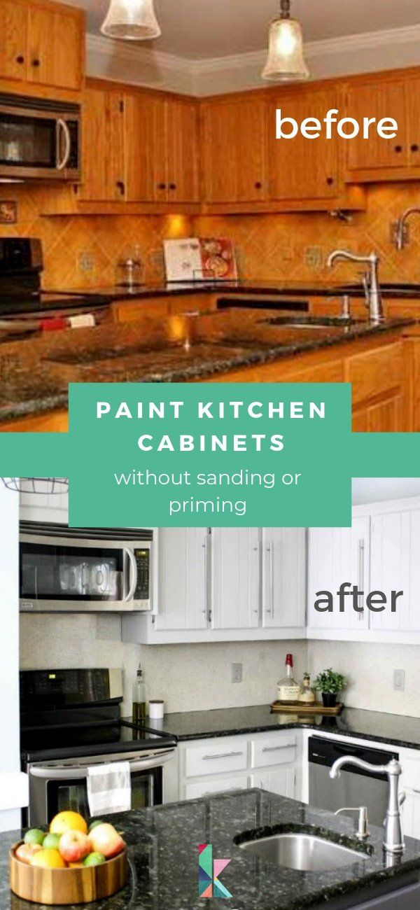 How To Paint Kitchen Cabinets Without Sanding Or Priming Step By Step Kitchen Diy Makeover Painting Kitchen Cabinets Kitchen Cabinets Before And After