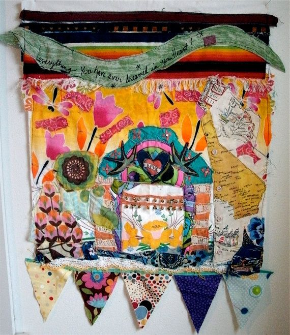 California Mission Fabric Collage Folk Art Quilt Collage