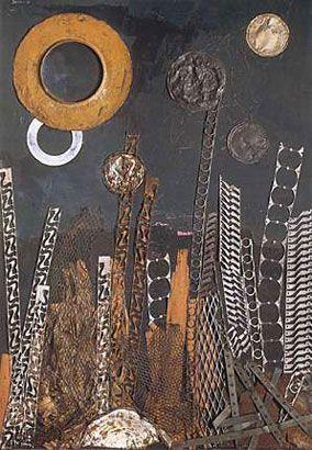 Antonio Berni, Los astros sobre Villa Cartón, 1962