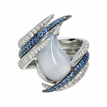 Captured Tear ring by Shaun Leane | Chalcedony with blue sapphires and diamonds set in white gold