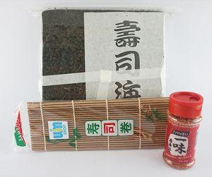 Nori Takaokaya + Sushi Mat Coklat + Bubuk Cave Gu Ichino50: - 1 sushi mat coklat - 1 Nori takaokaya @50 lembar - 1 ichimi togarashi 40g