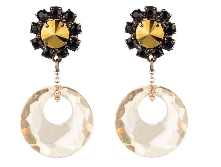 PEZZO UNICO - Bottone a rosa in cristallo Swarovski, maxi pendente in cristallo Swarovski