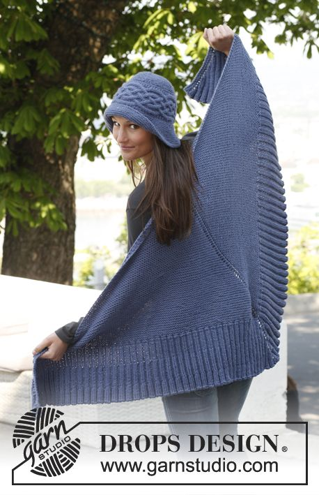 """Knitted DROPS shawl with rib and hat with cable sideways in """"Nepal"""". ~ DROPS Design free"""
