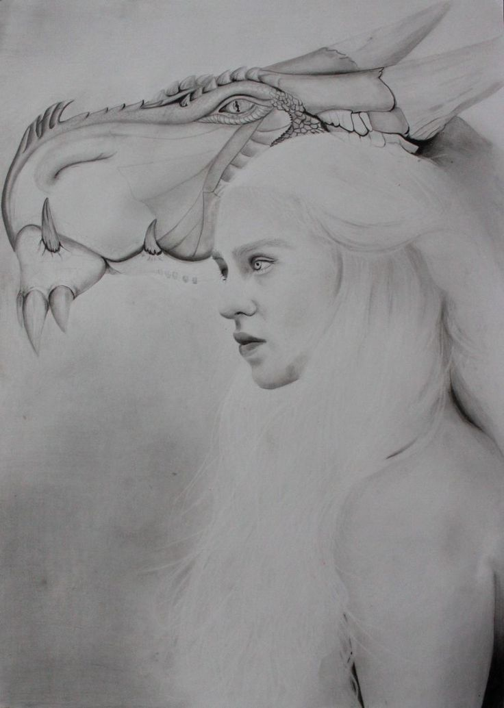 Realistic/fantasy drawing of mother of dragons by pencils on paper.