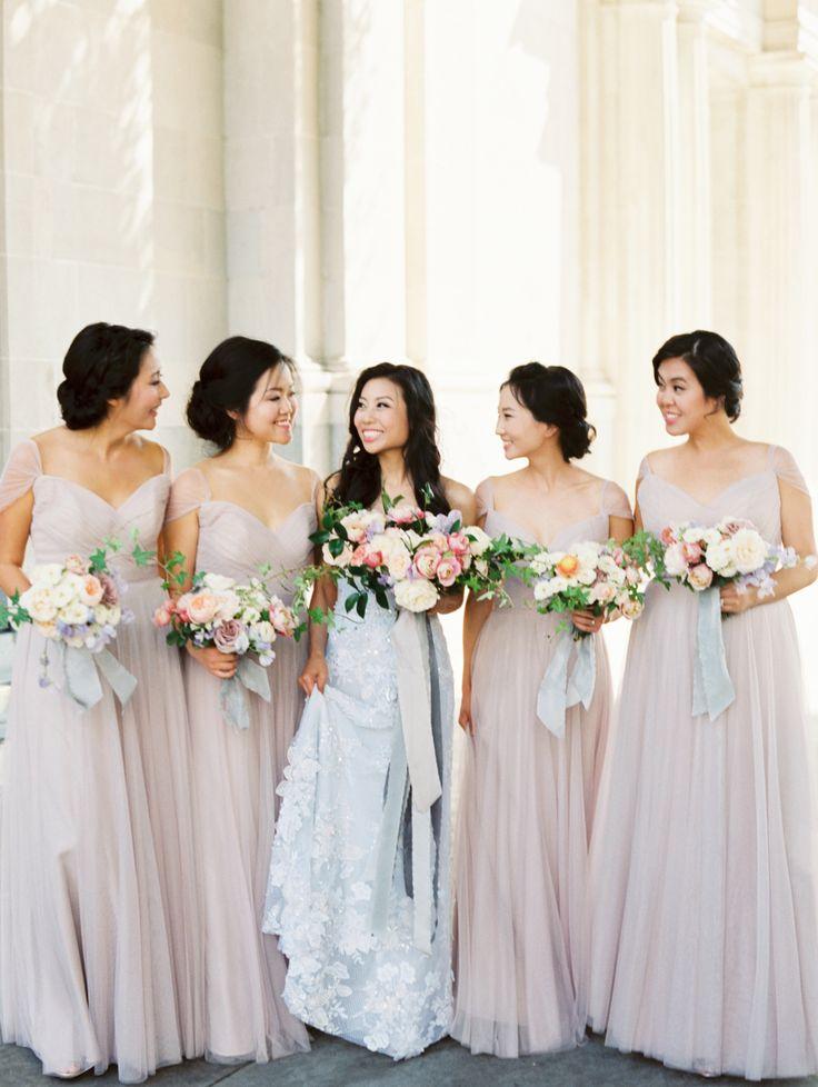 pale blush bridesmaid gowns | Photography: Erich McVey