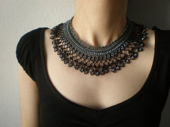 Cissus Sicyoides  ... Beaded Crochet Necklace - Black Gray Beadwork Necklace