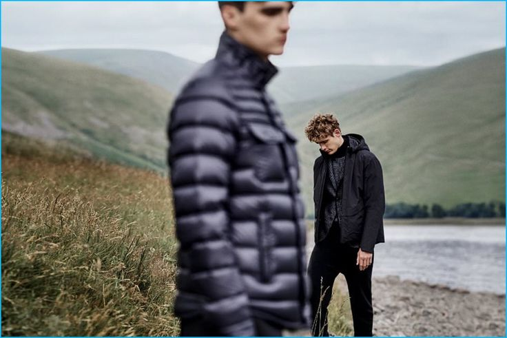 Men's Down Jackets (Left to Right): Moncler Forbin Quilted Shell Down Jacket and Arc'teryx Veilance Monitor Insulated Hooded Down Coat.