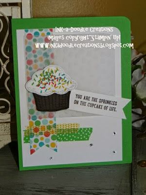 #stampinup, #inkadoodlecreations, stampin up sprinkles of life, cupcakes, handmade cards, stylin stampin inkspiration