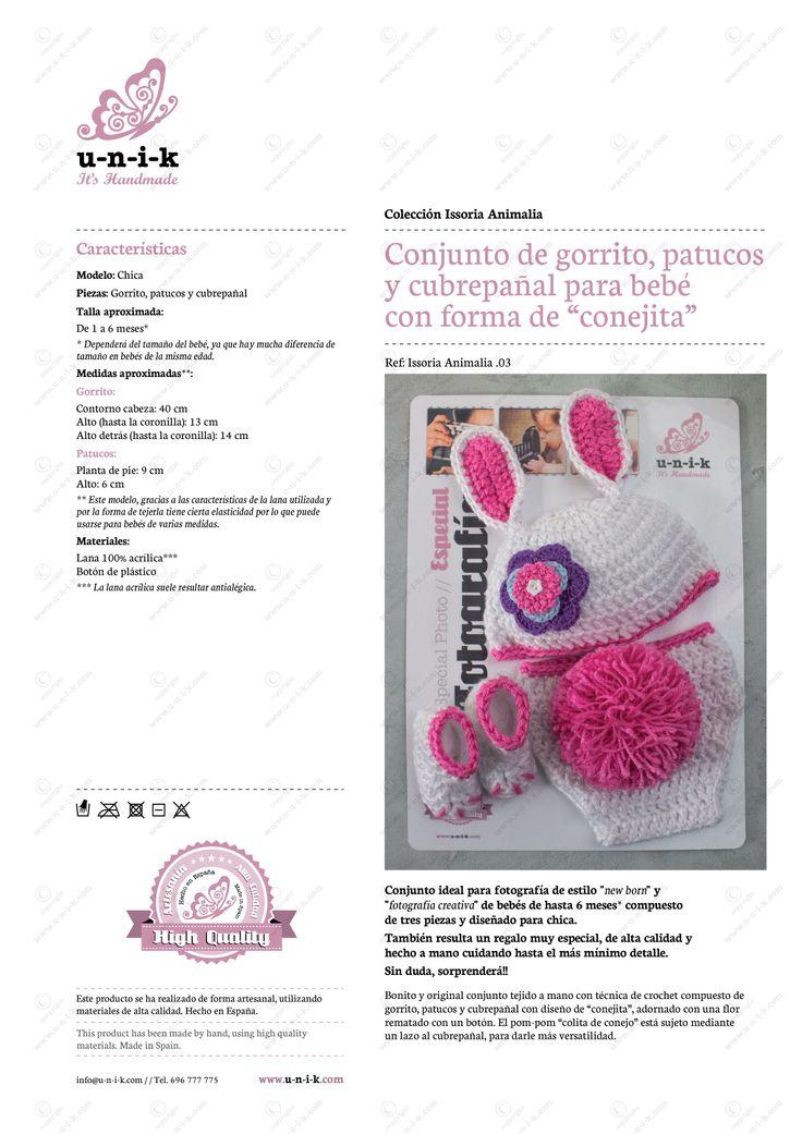 """Conjunto de gorrito, patucos y cubrepañal para bebé con forma de """"conejita"""" tejido a crochet.  Ref: Issoria Animalia .03"""