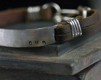Men's Jewelry - Leather Cuff Bracelet CUSTOM Stamped message - anniversary - wedding gift - latitude longitude - EcoFriendly original design
