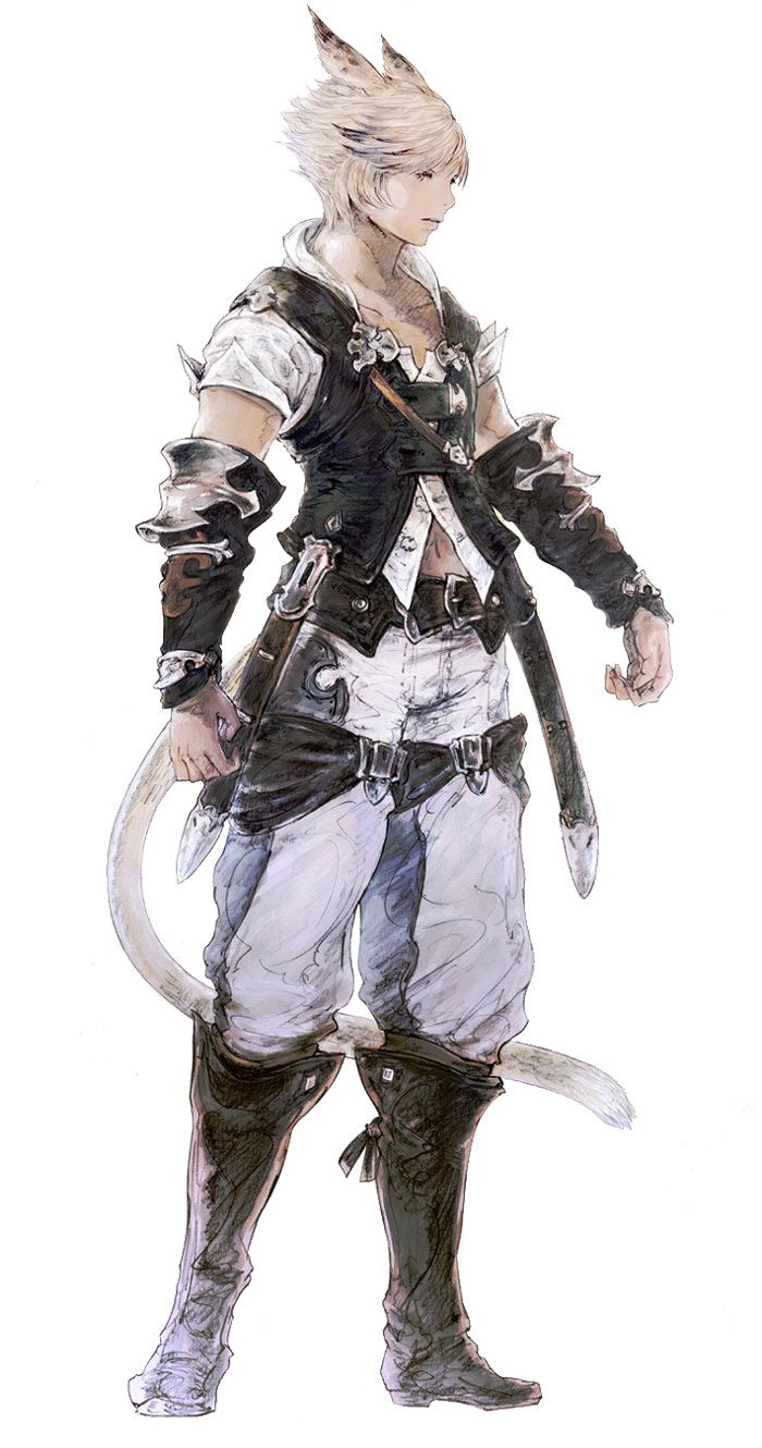 Miqo'te Male in Initial Gear - Pictures & Characters Art - Final Fantasy XIV: A Realm Reborn