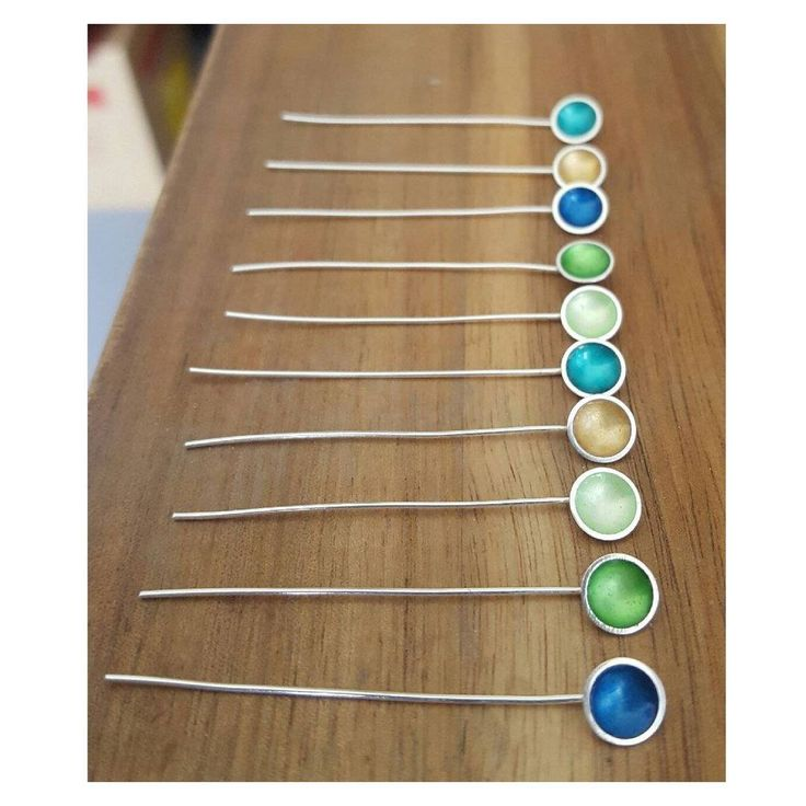 Enamelled silver lollipops waiting to be turned into drop earrings...