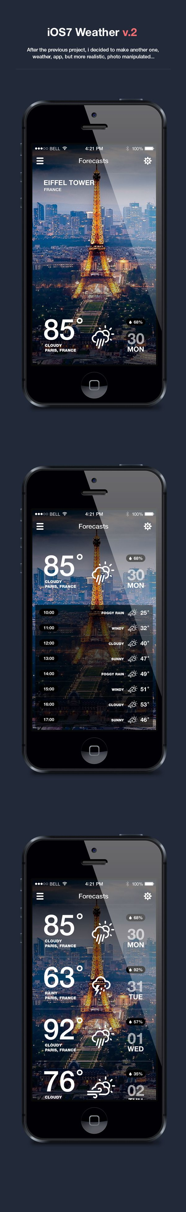 iOS7 Weather App v.2 by Dmitriy Haraberush, via Behance