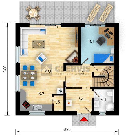 Projekt rodinného domu Lyra - půdorys přízemí