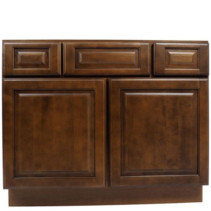 42 Inch Bathroom Vanity Single Sink Cabinet In Juniper Chestnut With Soft  Close Drawers U0026 Doors